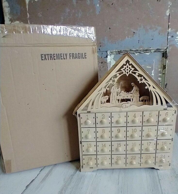 Wood Advent Calendar Nativity Scene Drawers Christmas LED Light up NIB Unused