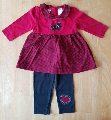 Baby Girls Clothes, Valentine's Day/Heart/Scottie Dog Outfit Set, Size 12 Months (Specialty Baby Clothes)