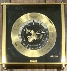 Vintage Seiko Quartz Desk Mantle World Time Zone Clock w Airplane Second Hand