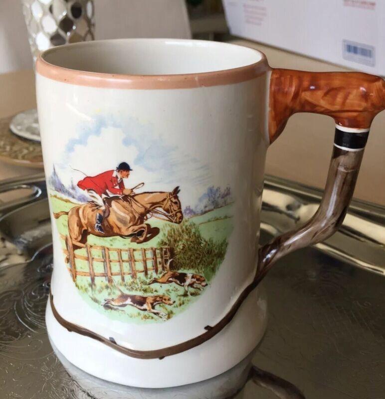 English Hunting Scenes Ambassador Ware England Whip Handle Coffee Tea Mug Cup