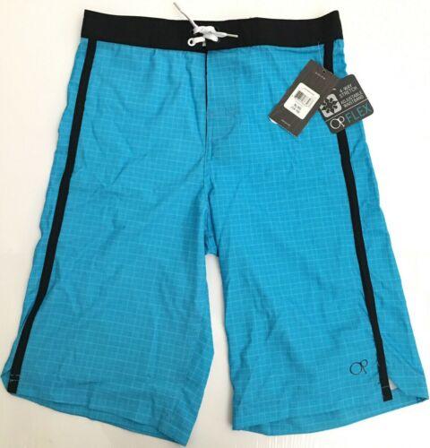 NWT OCEAN PACIFIC OP Boys Board Shorts Swim Trunks Cyan Blue/Black Sz XL (14-16)
