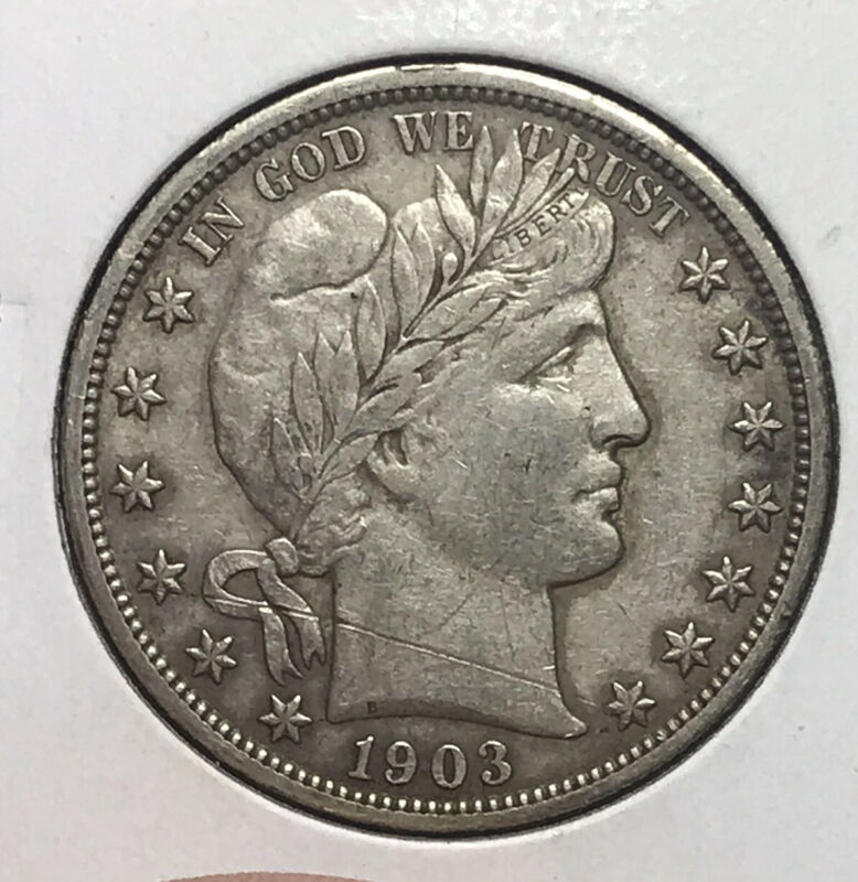 1903 S Barber Half Dollar Full Liberty Scratched