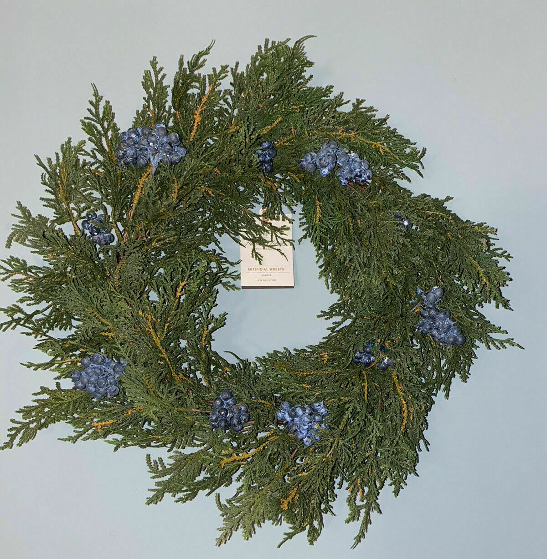 18″ Faux Juniper Blue Berry Artificial Wreath Hearth & Hand Magnolia NWT Holiday & Seasonal Décor