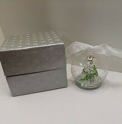 Hand Blown Glass Led Lighted Christmas Tree Ornament Color Changing 4""