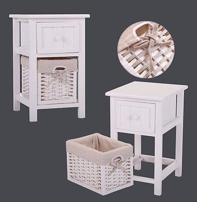 White Nightstand Bedside End Table Bedroom Organizer w/ 1 Wicker Basket ()