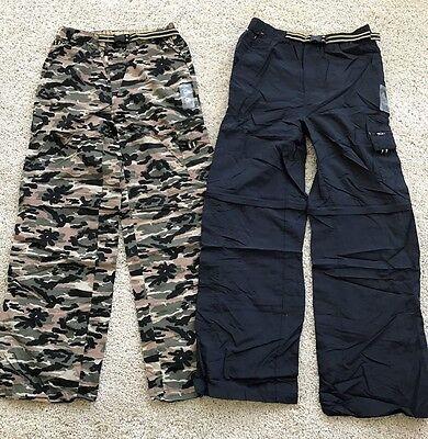 2 Gander Mountain Boys Convertible Cargo Pants Shorts Blue   Camo  Nwt Size S