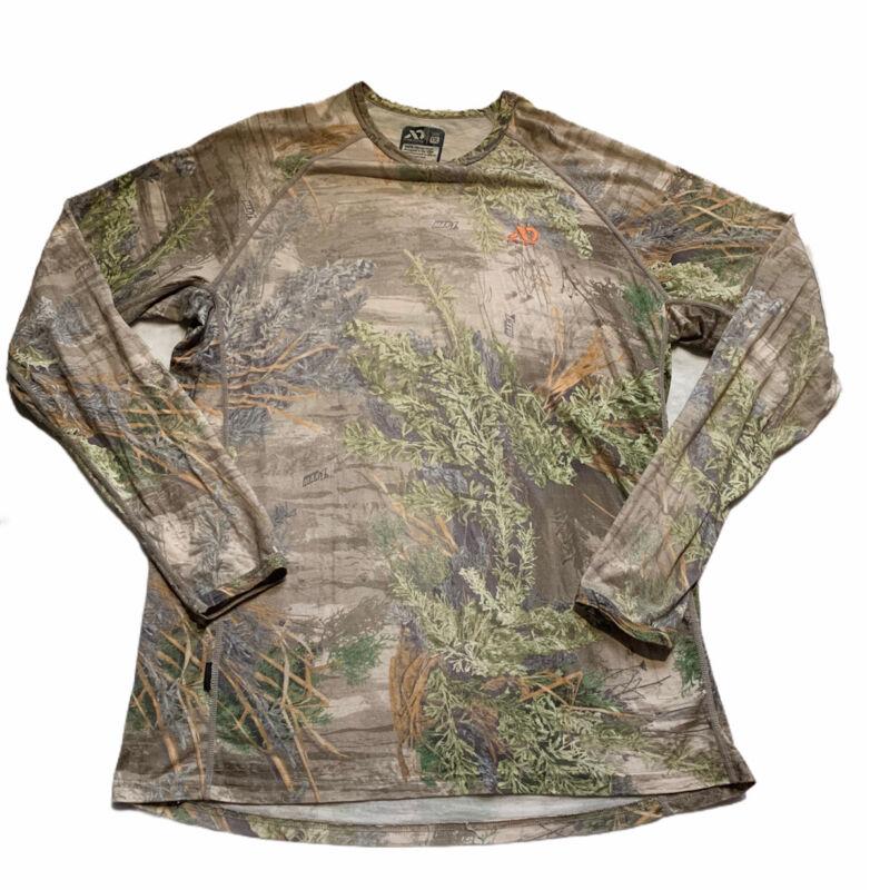 First Lite Lightweight Wool Base Layer Shirt Long Sleeve Size XXL Brown RealTree