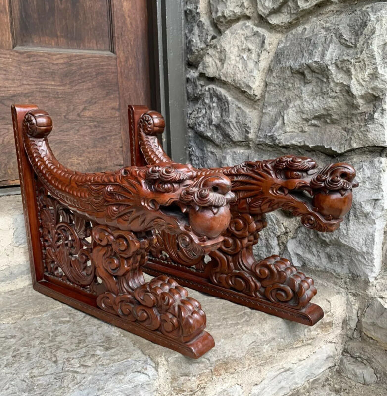 Antique Carved Wooden Chinese Dragon Corbels Brackets Architectural Salvage Pair