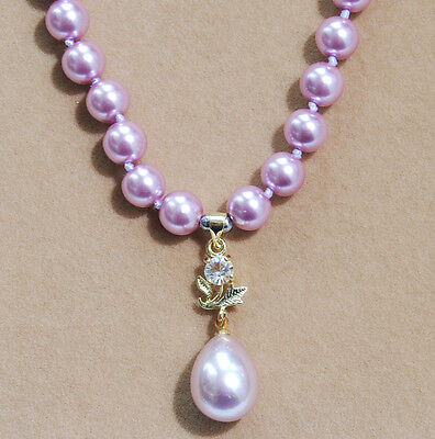 8mm Purple South Sea Shell Pearl Round Beads Drop Pendant (12x16mm) Necklace AAA