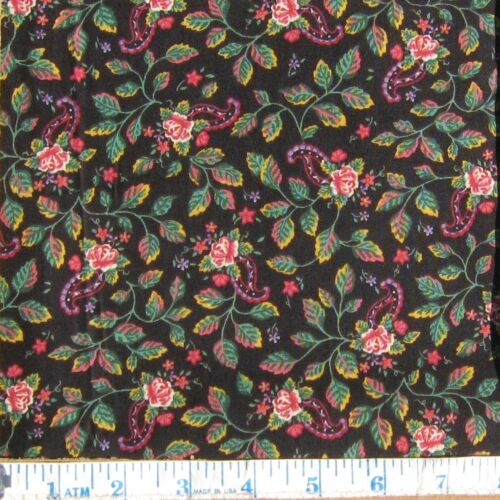 Vintage Springs ind Cotton Calico Fabric Black Rose Floral Country Quilt 1yd