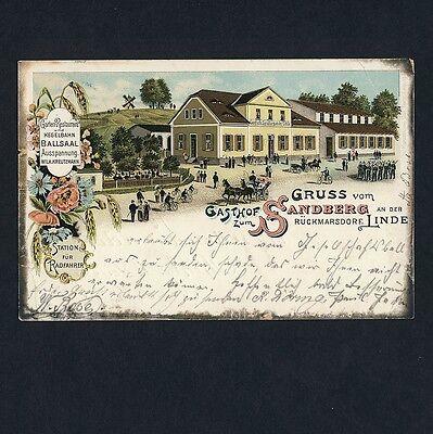 RÜCKMARSDORF Leipzig / Gasthof Sandberg / Radfahrer Station * AK um 1900 Litho
