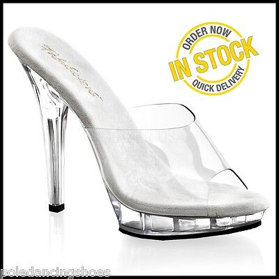 LIP-101 NEW Posing Comp Shoes Clear Heels Bikini Competition Sandals 5 Inch ()