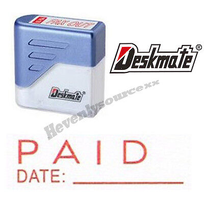 Paid Date Deskmate Red Pre-inked Self-inking Rubber Stamp Ke-p09