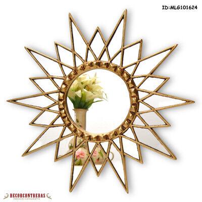 "Gold Star Mirror 23.6"", Decorative Wall Mirror, Starburst mi"