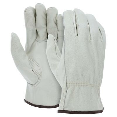 12 Pairs Ateret Cowhide Skin Grain Leather Drivers Work Safety Gloves