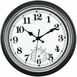 12-Inch Indoor/Outdoor Retro Silent Waterproof Wall Clock with Thermometer