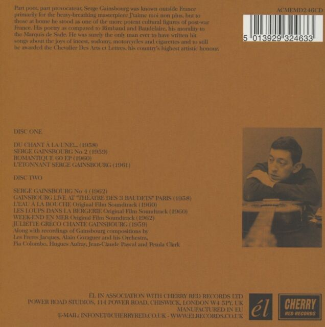 Serge Gainsbourg - Intoxicated Man 1958-1962 (2013)  2CD  NEW  SPEEDYPOST