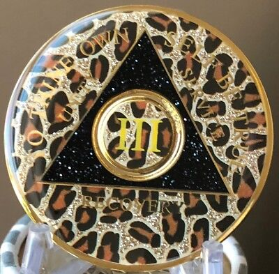 AA Medallion Leopard Animal Print Tri-Plate Year 1-50 Sobriety Chip , used for sale  Shipping to Canada