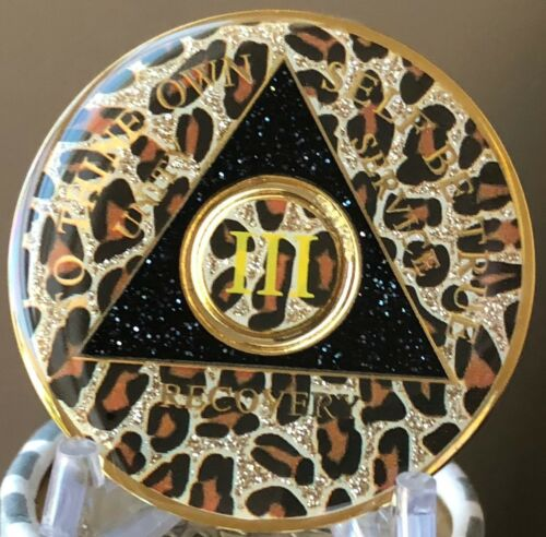 AA Medallion Leopard Animal Print Tri-Plate Year 1-50 Sobriety Chip