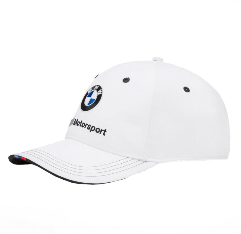 PUMA BMW M BB Dad Cap Motorsport Sports Car Logo Strap Back White Baseball Hat