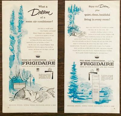 1957 Frigidaire Room Air Conditioners 2-part Ad A Dream Quiet Clean Healthful