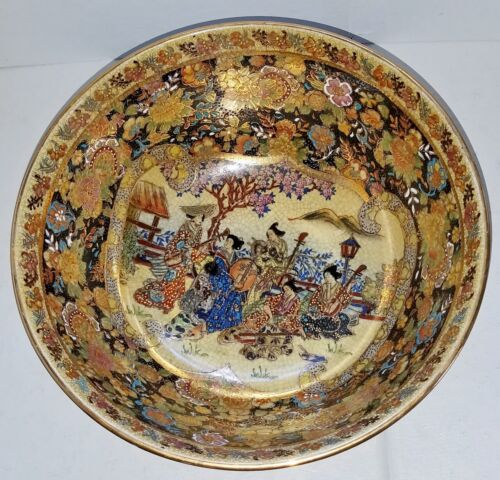 """Antique Japanese Meiji Satsuma Bowl w/Wood Stand """"Musicians in the Garden"""""""
