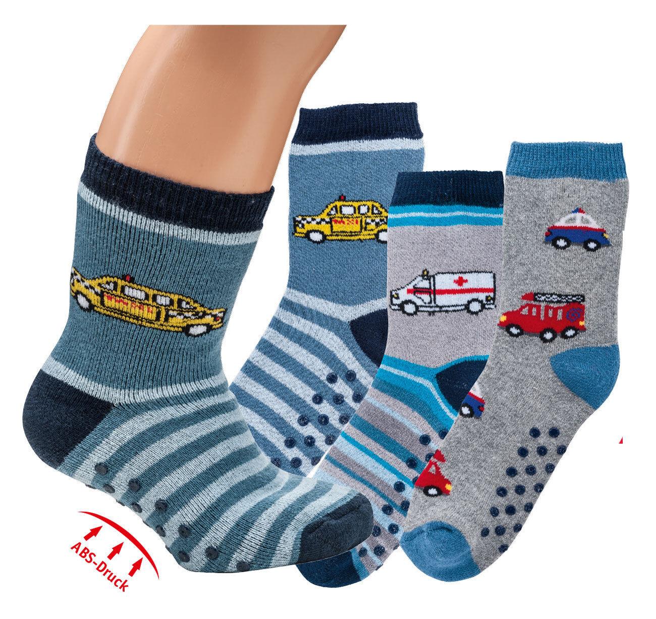 3 Paar Baby Kinder Thermo Socken  ABS/Stopper-Socken, Vollfrotee Frottee Auto