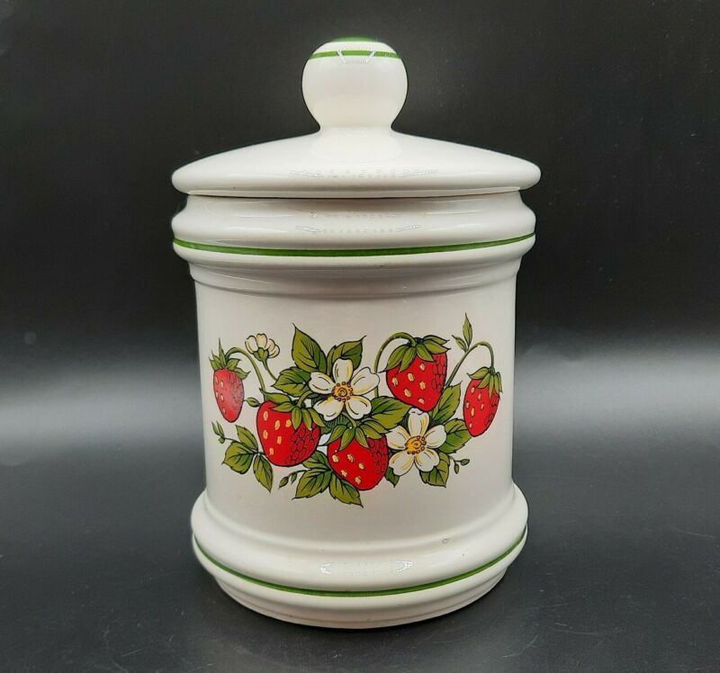 """Vintage Sears Strawberry Fields Canister 7"""" Made in Japan"""