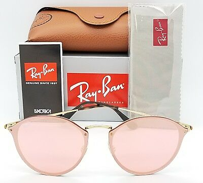 NEW Rayban Blaze Round Sunglasses RB3574N 001/E4 59mm Gold Pink Mirror AUTHENTIC