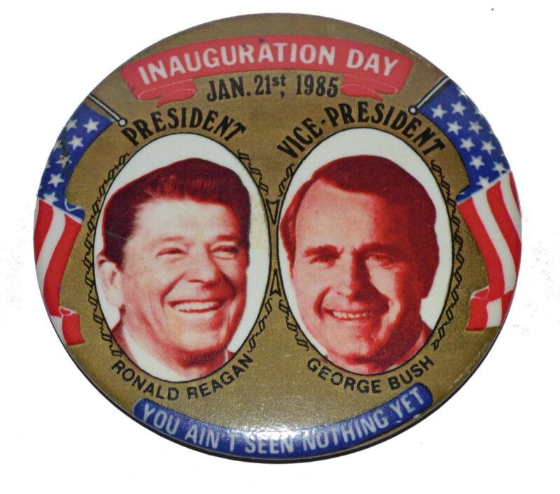 1985 RONALD REAGAN George Bush Inauguration Pinback Button 1