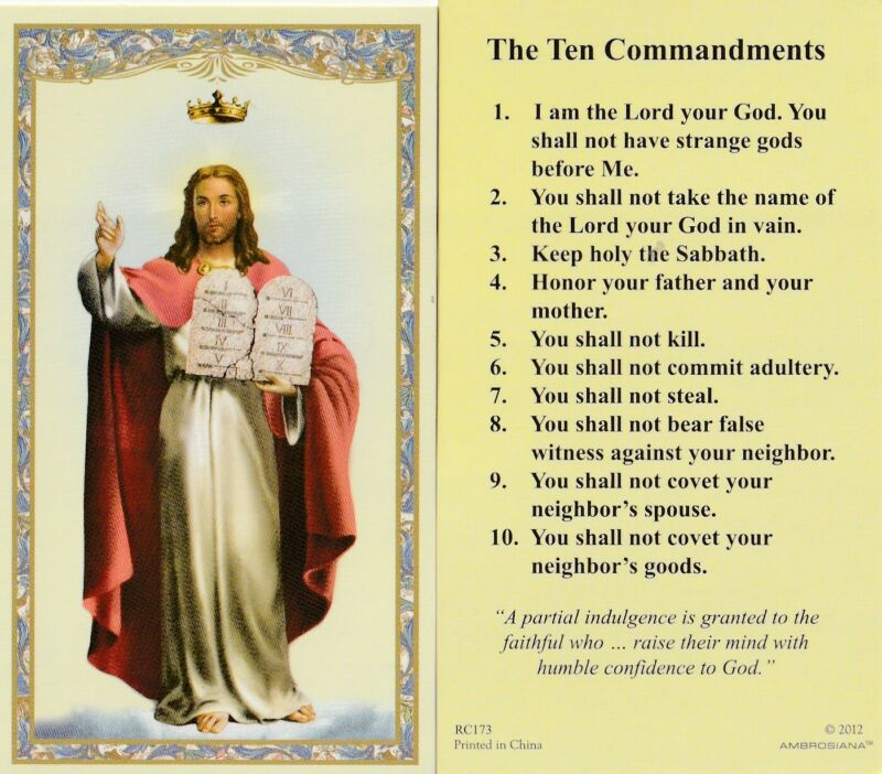 """+Holy Card~""""10 Commandments""""(Jesus Carries Commandments) *Listed on Back/ (#1"""
