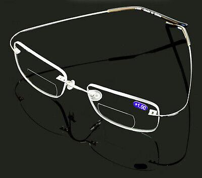 Bifocal Lightweight Slim Rimless Wire Reader - Flexible Reading Glasses (Rimless Bifocal Glasses)