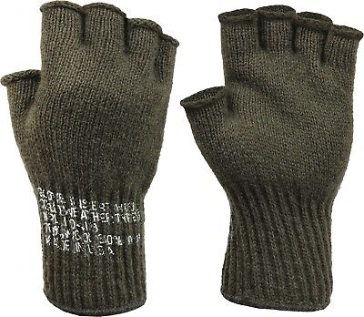 Olive Drab Tactical Fingerless Military Glove Liner Inserts Wool Gloves USA Made Olive Drab Wool Glove