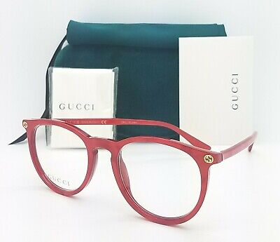NEW Gucci RX Frame Glasses Red Gold GG0027O 004 50mm AUTHENTIC Round 0027O (Gucci Red Glasses)