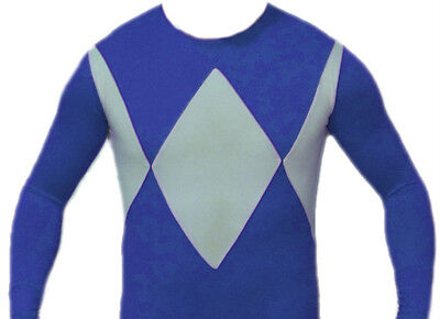 Power Ranger Blue Costume (Power Man Ranger style Blue Diamond unisex Costume Suit - Size)