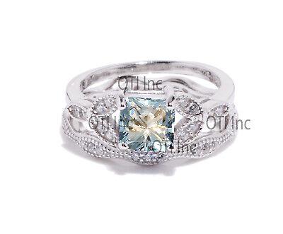 Princess Aquamarine CZ Engagement Wedding Nature Wreath Sterling Silver Ring -