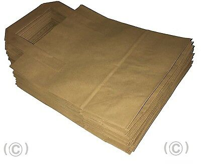 55 x Brown Paper Carrier Bags with Flat Handles - 25cm x 30cm x 14cm