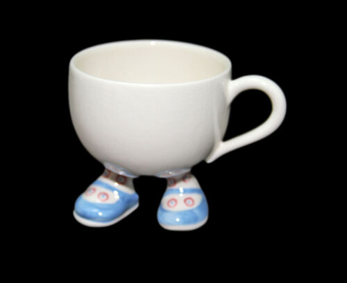 Vintage England CARLTONWARE Pottery Blue Shoe Walking Feet Coffee Cup