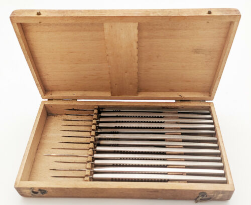Antique Wood Box of 12 Graefe Knives Eye Surgery Instruments Early 1900s