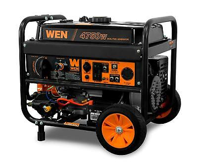 Wen 4750-w Portable Rv Ready Hybrid Dual Fuel Gas Generator With Electric Start