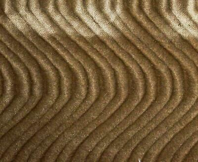 """TAUPE WAVE SWIRL FLOCKING VELVET UPHOLSTERY FABRIC 58""""  SOLD BY YARD"""