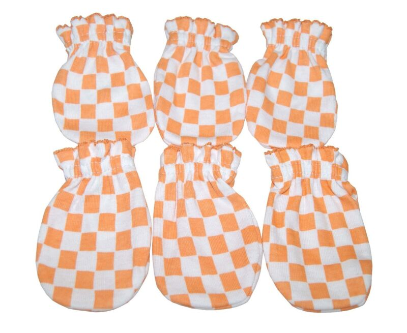 Orange Square - 6 Cotton Newborn Baby/infant No Scratch Mittens Gloves