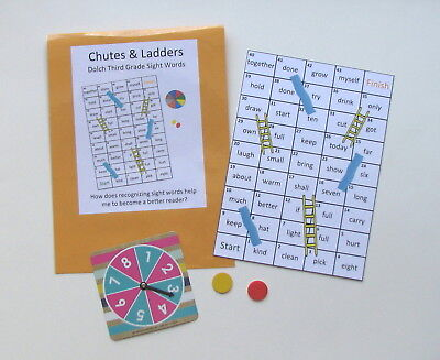 Teacher Created Activity Game Dolch Third Grade Sight Word Chutes & Ladders Game ()