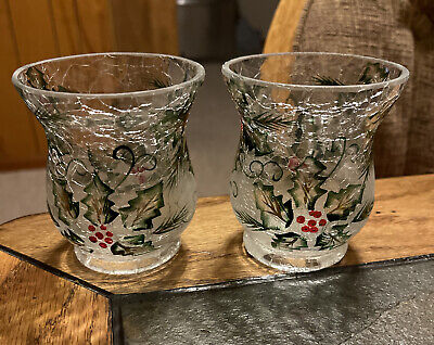 NEW!! YANKEE CANDLE Holly Swirl Votive/TeaLight Holders - Set of 2 - HTF