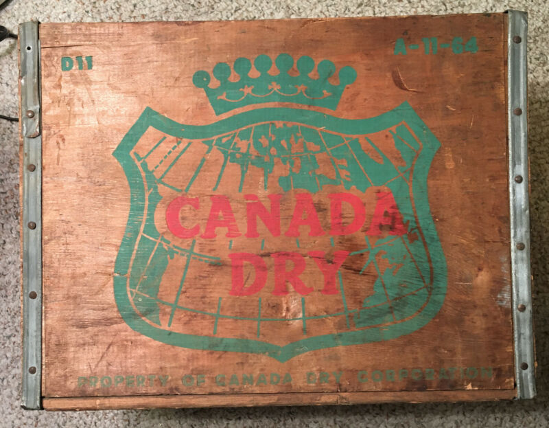 Vintage Canada Dry Ginger Ale Wood Crate D11 A-11-64 Soft Drink Advertising