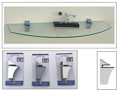 Glasregal 60cm breit gerundet 10-20cm tief Clip ECO in 3 Farben Wandregal Ablage - Metall Breite Bücherregal