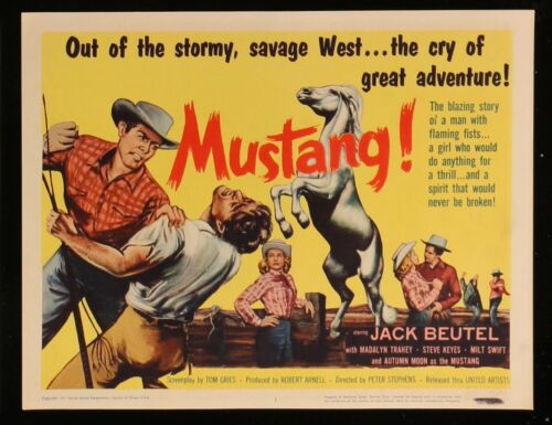 MUSTANG! Jack Beutel RARE SET Western 1967 8 MOVIE LOBBY CARD POSTERS 11 x 14