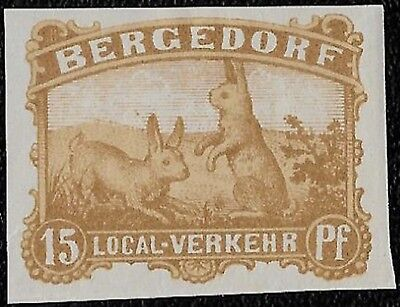 1887 BERGEDORF GERMANY RABBITS BUNNIES 15PF IMPERF.LOCAL PRIVATE POST UNUSED
