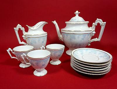 Kaffeeservice Teile Historismus Kaffeekanne, Sahnekännchen, 3 Tassen mit Untere