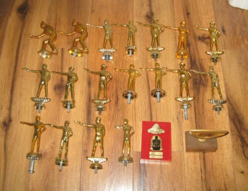 Antique 1960s Vtg Cop Lot of 20 Shooting Marksman Trophy Topper Police metal NRA
